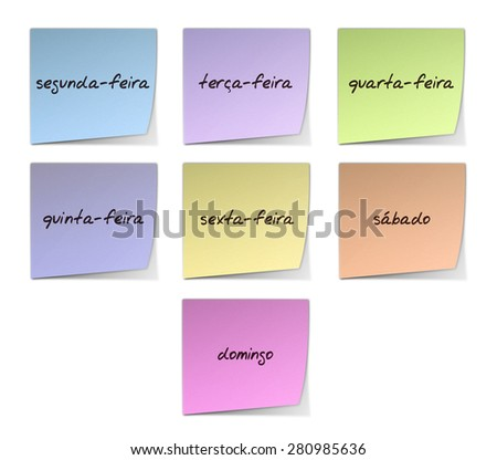Weekdays in Portuguese - stock photo