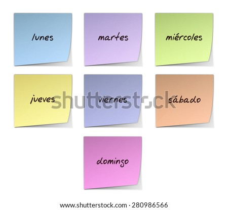 Weekdays in Spanish - stock photo