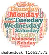 weekdays info-text graphics and arrangement concept on white background (word cloud) - stock photo