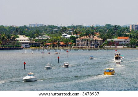 Weekend boating in Florida - stock photo