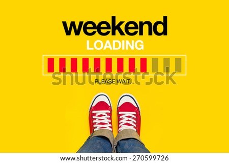 Weekend Loading Content with Young Person Wearing Red Sneakers from Above Standing in front of Loading Progress Bar, waiting for the End of the Week, Top View - stock photo