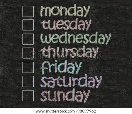 weekly days plan with box written on blackboard background