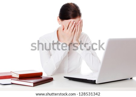 Weeping businesswoman, white background - stock photo