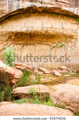 weeping wall moss arch grotto and pond - stock photo