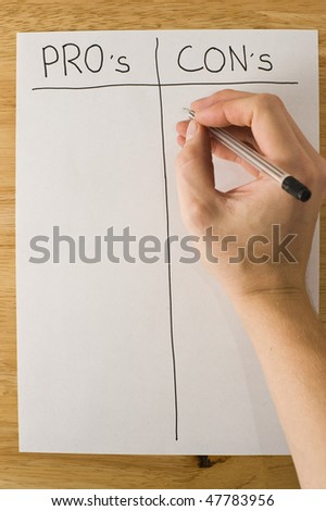 Weighing Up The Pros And Cons - stock photo