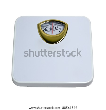 weight control by floor scale isolated dieting concept