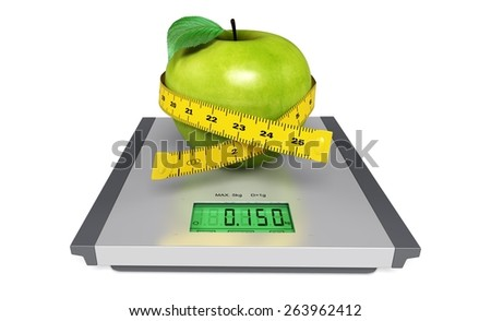 Weight. 3D. Red apple with measuring tape on the scales - stock photo