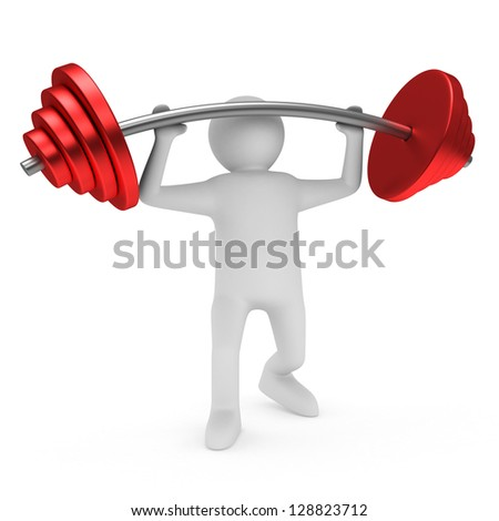 weight-lifter lifts barbell on white. Isolated 3D image - stock photo