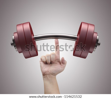 Weight lifting with just one finger. Concept of strength and training. - stock photo