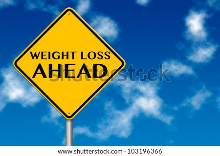 Weight Loss ahead sign showing business concept on a sky background - stock photo