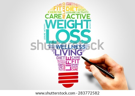 WEIGHT LOSS bulb word cloud, health concept