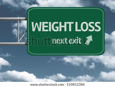 Weight Loss, next exit creative road sign and clouds - stock photo