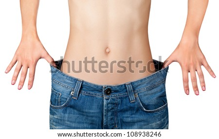 Weight Loss Woman, isolated on white - stock photo