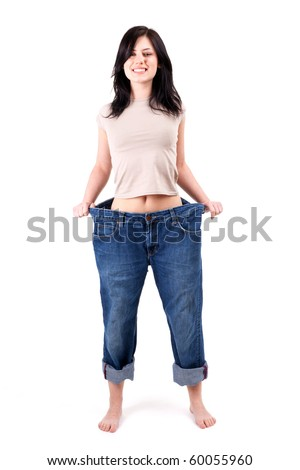 weight loss woman proud of loosing weight - stock photo