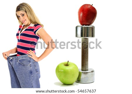 weight loss workout apples in jeans side - stock photo