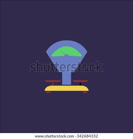 Weight Scale. Colorful retro flat icon - stock photo