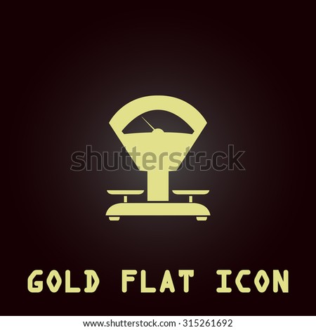 Weight Scale. Gold flat icon. Symbol for web and mobile applications for use as logo, pictogram, infographic element - stock photo