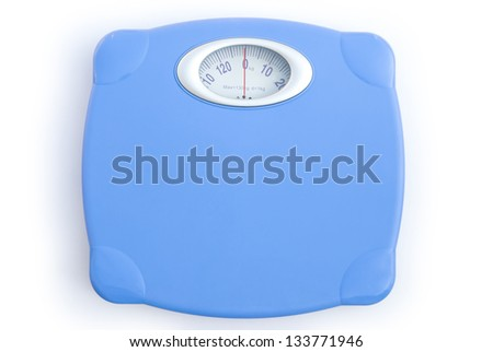 weight scale on white with clipping path - stock photo