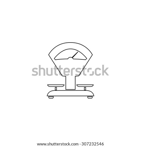 Weight Scale. Outline black simple symbol - stock photo