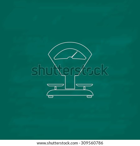 Weight Scale. Outline icon. Imitation draw with white chalk on green chalkboard. Flat Pictogram and School board background. Illustration symbol - stock photo