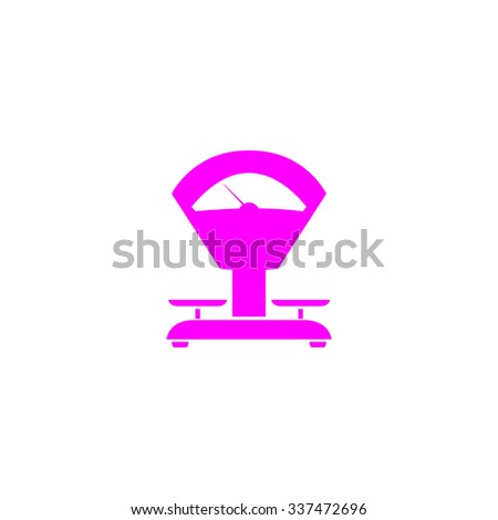 Weight Scale. Pink icon on white background. Flat pictograph - stock photo