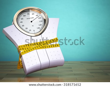 Weighting scales with  measuring tape. Diet concept. 3d - stock photo