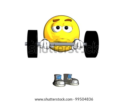 Weightlifter emoticon - stock photo
