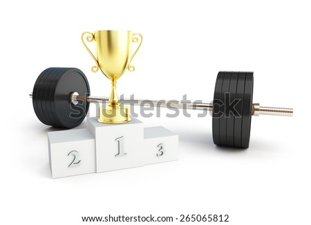 weightlifting champion on white background - stock photo