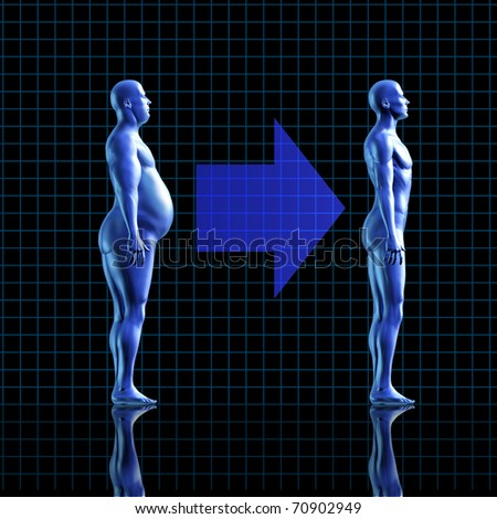 weightloss calories health fitness diet exercise medical health healthy arrow fat transformation blue human symbol - stock photo