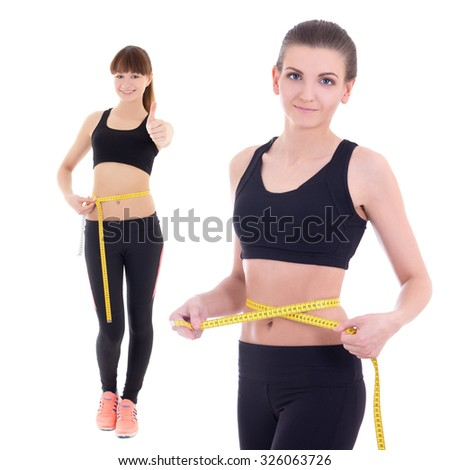 weightloss concept - beautiful slim sporty women with measure tape isolated on white background - stock photo