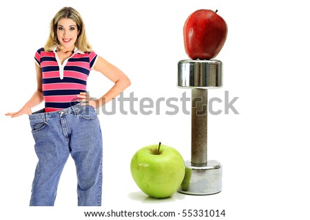 weightloss workout apples in jeans - stock photo