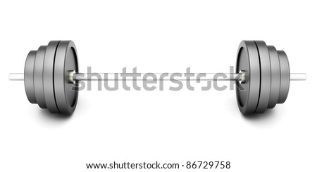 Weights for Sports and Body building. 3D rendered Illustration. Isolated on white.