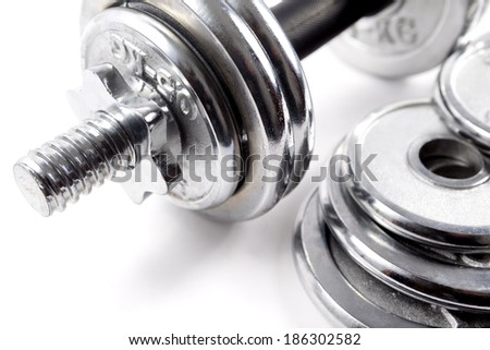 Weights or dumbbells.Sport objects - stock photo