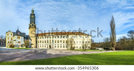 Weimar, city castle under blue sky, Germany - stock photo