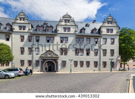 WEIMAR, GERMANY - JUL 24, 2015: Red Castle (Rotes Schloss), 1574-1576. Weimar urban ensembles included in the World list of cultural sites under UNESCO protection