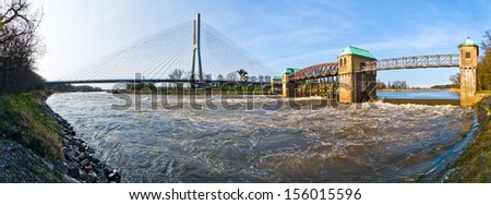 Weir on the Odra river in Wroclaw - stock photo