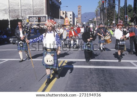 Weird Scottish band marching at the Doo Dah Parade, Pasadena, California