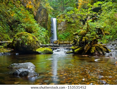Weisendanger Falls in the Columbia River Gorge, Oregon - stock photo