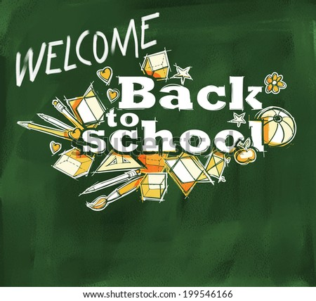 Welcome Back to school label hand drawn doodles, freehand sketchy style - stock photo