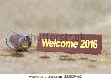 Welcome 2016 Banner with Gold Background