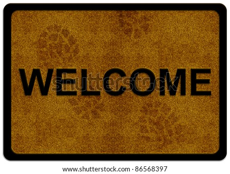 welcome cleaning foot carpet with shoe print on it. - stock photo