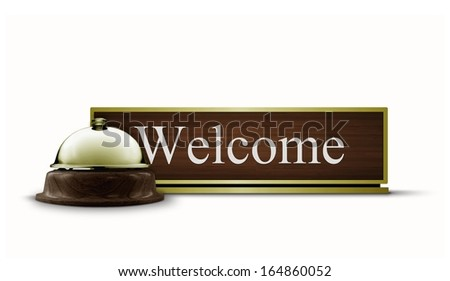 Welcome Desktop Sign and Service Bell - stock photo