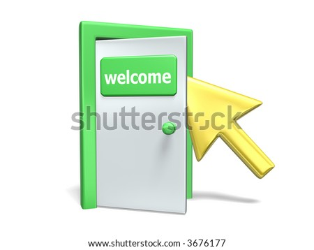 welcome door - stock photo