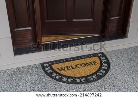 Welcome door mat with open door & Open Front Door Stock Images Royalty-Free Images \u0026 Vectors ... Pezcame.Com