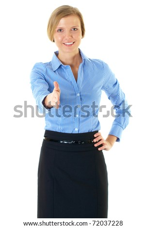 welcome gesture, young blonde businesswoman, isolated on white - stock photo