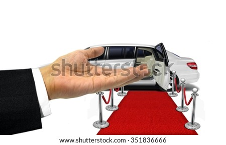 Welcome hand gesture to a white limousine - stock photo