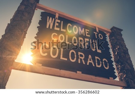 Welcome in Colorado State Entrance Wooden Welcome Sign. Colorado, United States. - stock photo