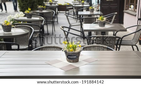 Welcome. Interior of summer cafe. - stock photo
