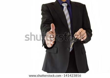 welcome man giving his rental car - stock photo