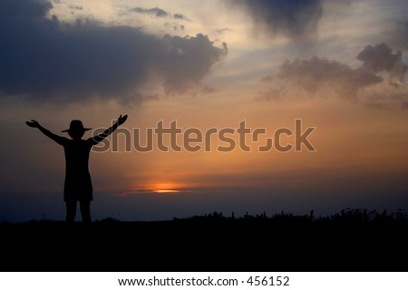 welcome near the sunset - stock photo